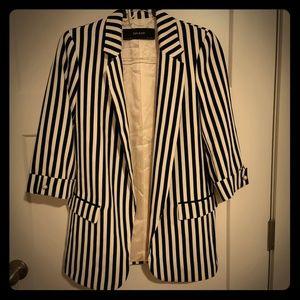 Zara Navy Striped Oversized Blazer